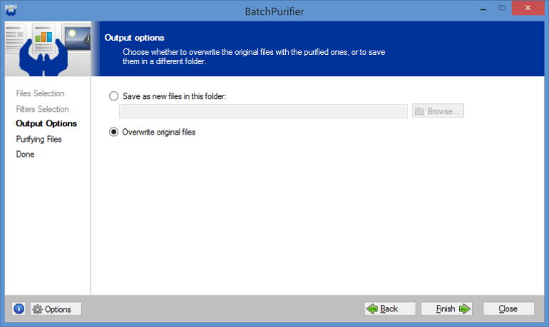 Screenshot of BatchPurifier output options page