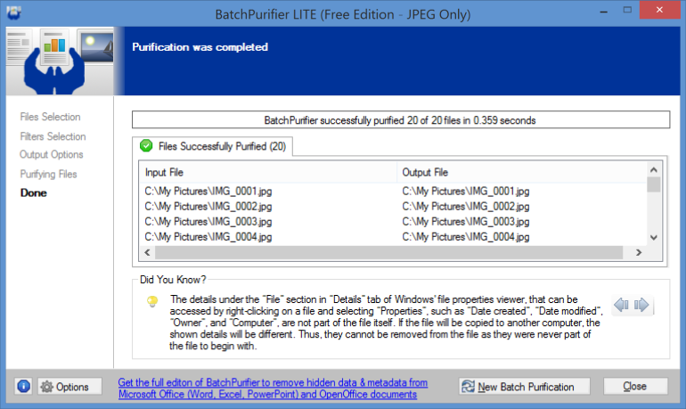 Screenshot of BatchPurifier LITE completed page
